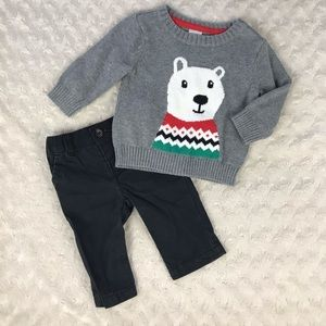 Carter's Polar Bear Sweater & Black Pants Outfit